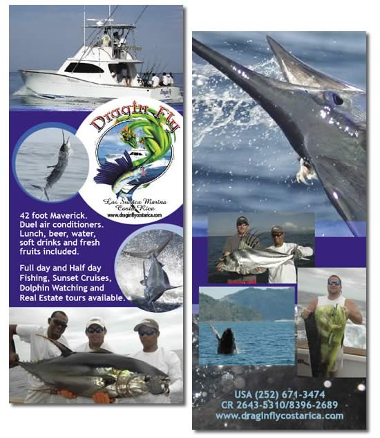 Flyer for the Dragin Fly, Sport Fishing Boat in Los Sueños Marina Costa Rica.